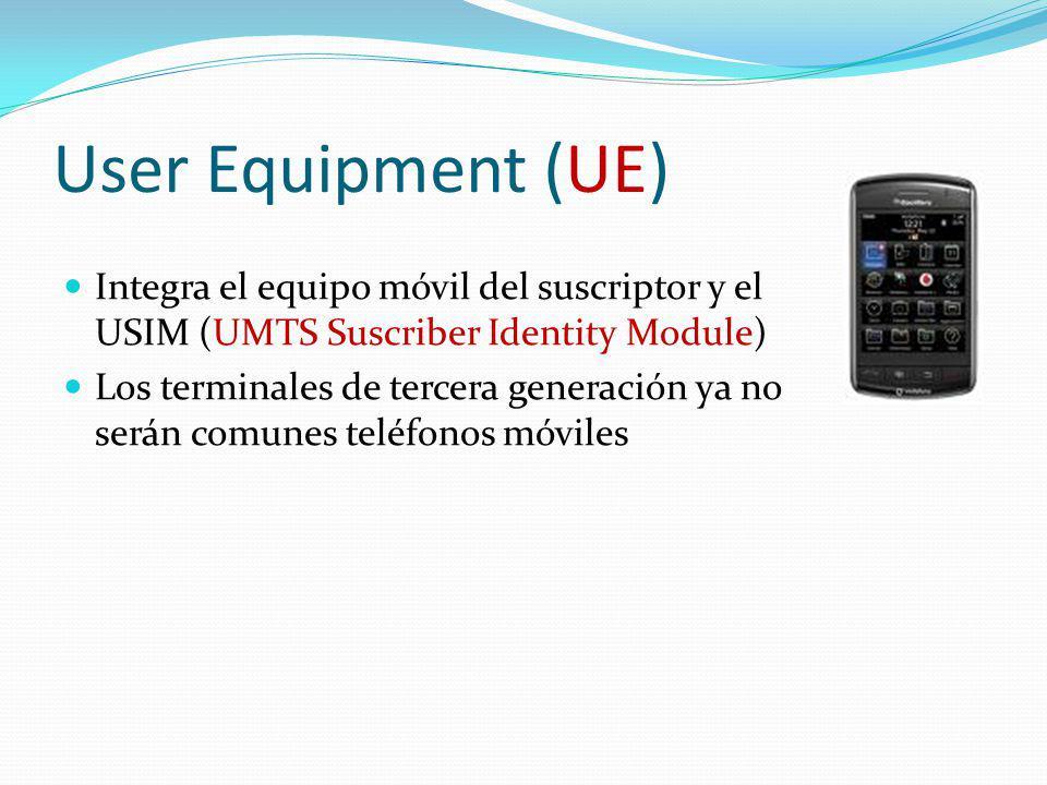 User Equipment (UE) Integra el equipo móvil del suscriptor y el USIM (UMTS Suscriber Identity Module)