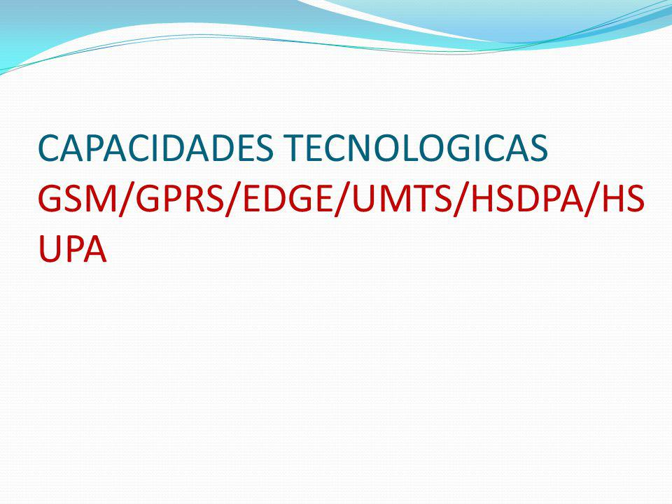 CAPACIDADES TECNOLOGICAS GSM/GPRS/EDGE/UMTS/HSDPA/HSUPA