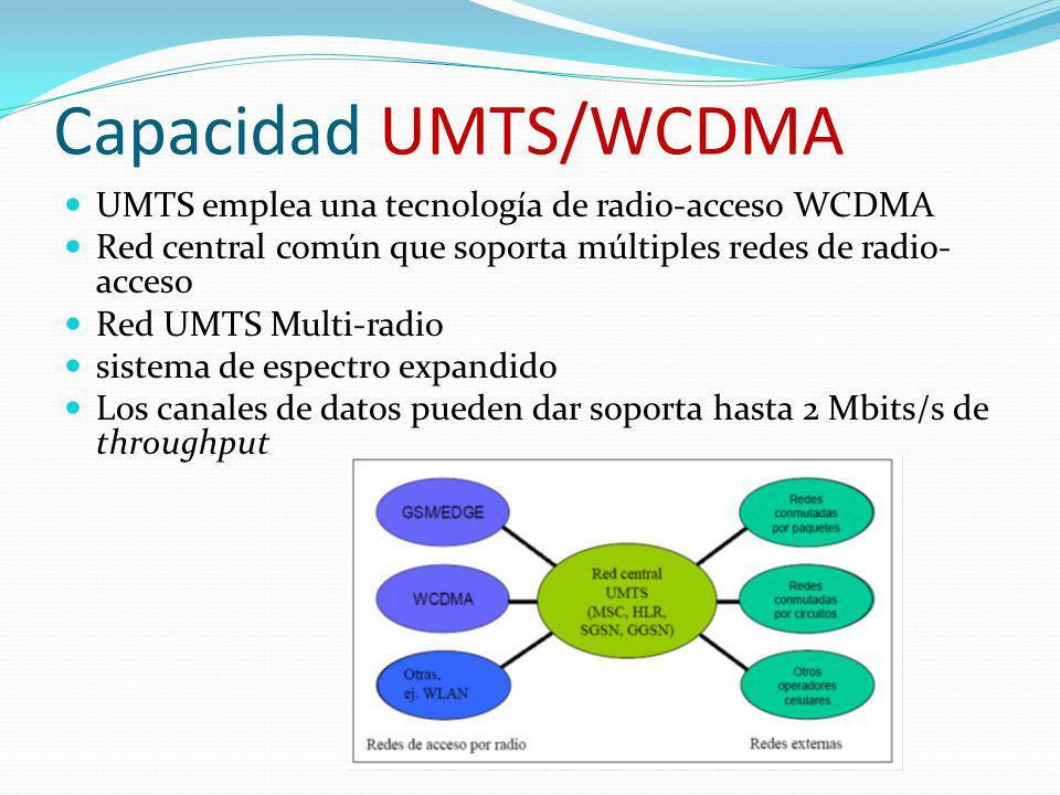 Capacidad UMTS/WCDMA UMTS emplea una tecnología de radio-acceso WCDMA