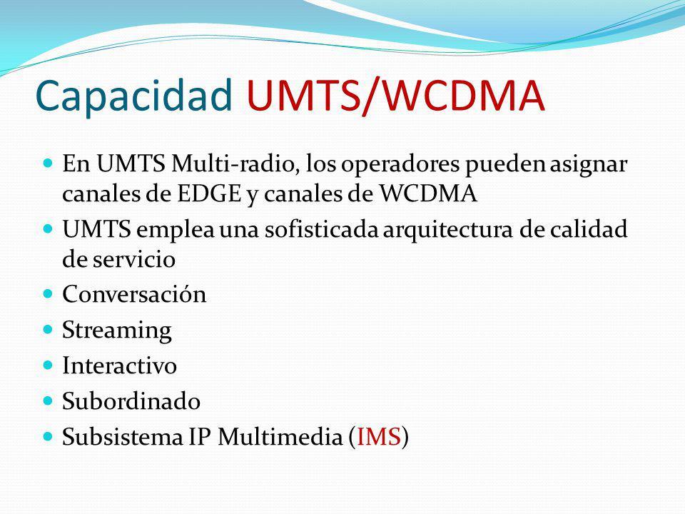 Capacidad UMTS/WCDMA En UMTS Multi-radio, los operadores pueden asignar canales de EDGE y canales de WCDMA.