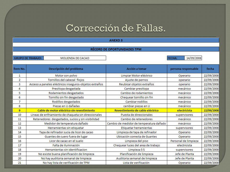 Corrección de Fallas.