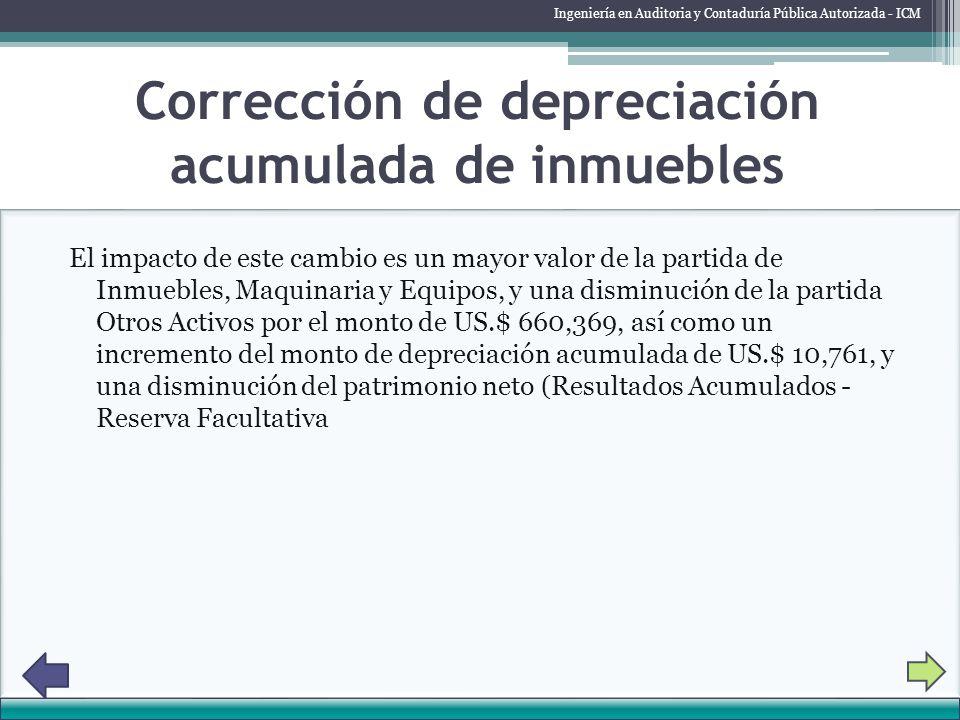 Corrección de depreciación acumulada de inmuebles