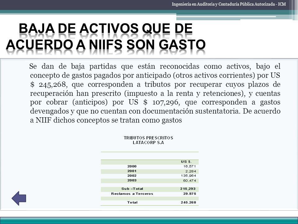 Baja de activos que de acuerdo a NIIFs son gasto