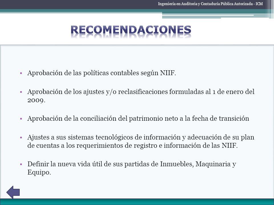 RECOMENDACIONES Aprobación de las políticas contables según NIIF.