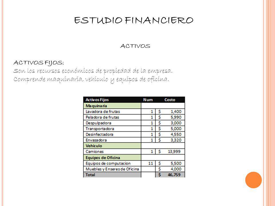 ESTUDIO FINANCIERO Activos ACTIVOS FIJOS: