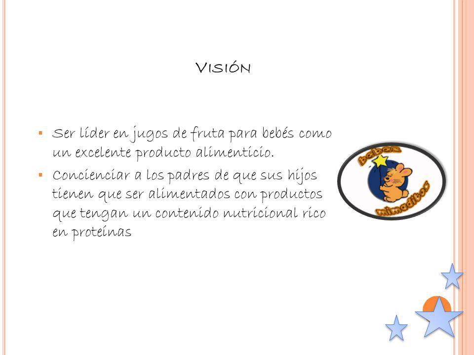 Visión Ser líder en jugos de fruta para bebés como un excelente producto alimenticio.