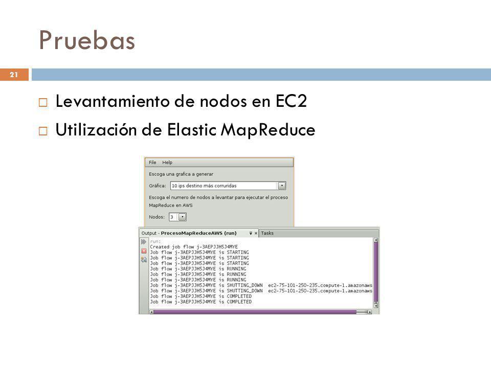 Pruebas Levantamiento de nodos en EC2 Utilización de Elastic MapReduce