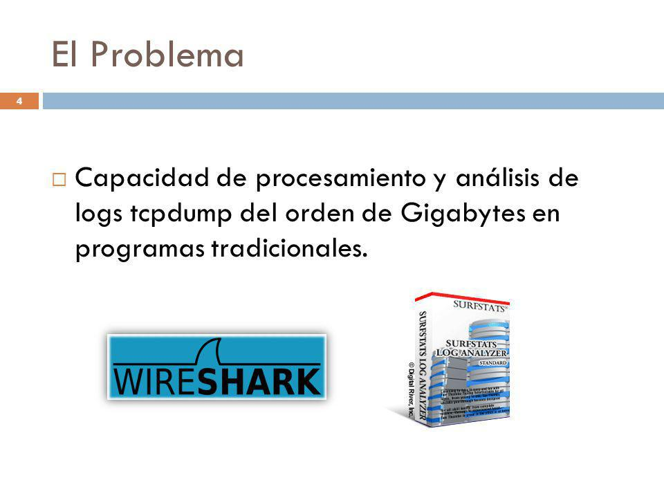 El Problema Capacidad de procesamiento y análisis de logs tcpdump del orden de Gigabytes en programas tradicionales.