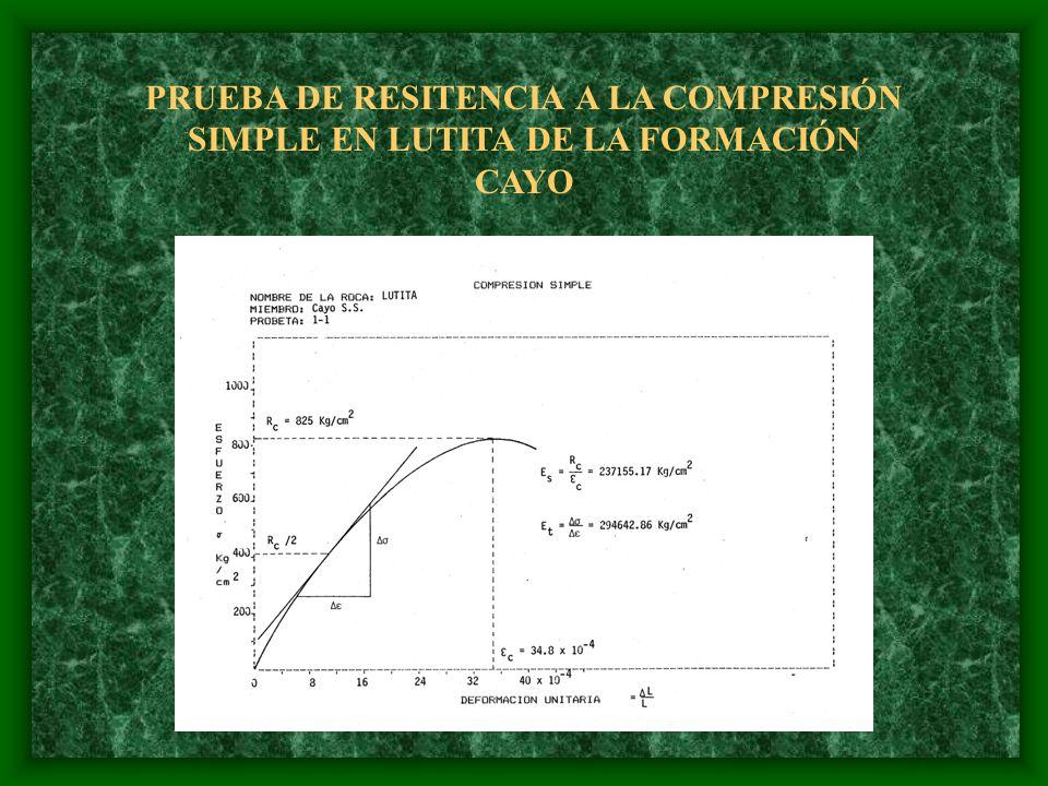 PRUEBA DE RESITENCIA A LA COMPRESIÓN SIMPLE EN LUTITA DE LA FORMACIÓN CAYO