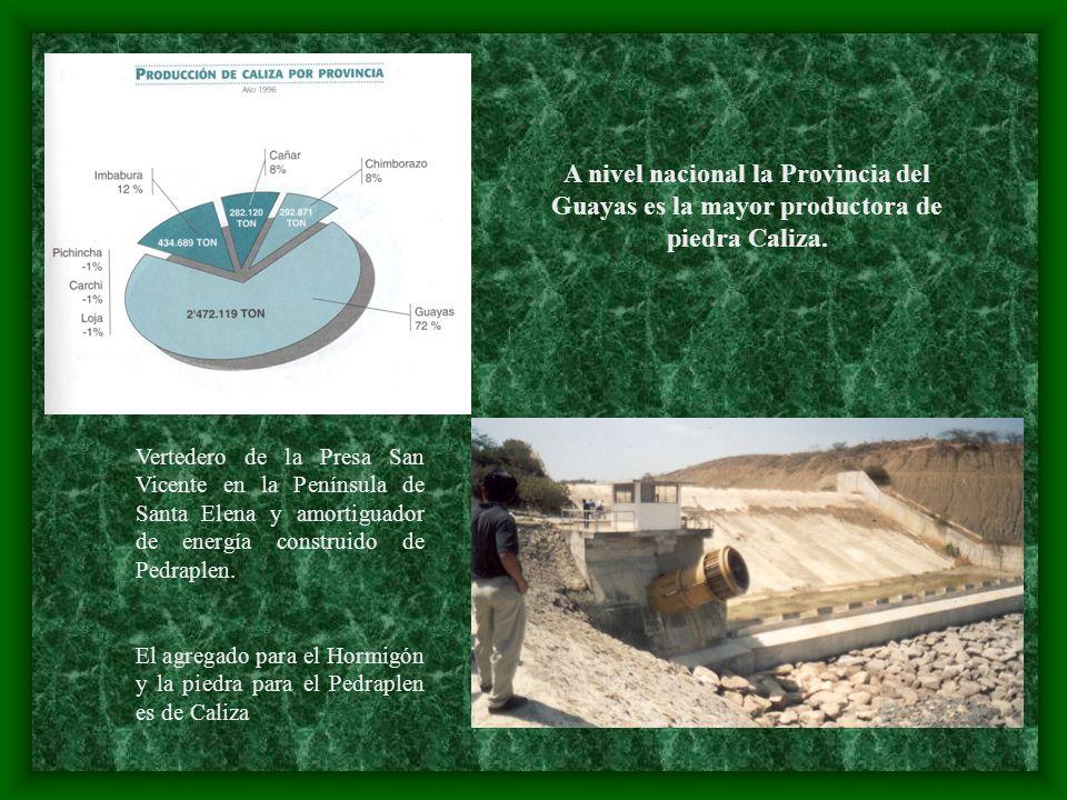 A nivel nacional la Provincia del Guayas es la mayor productora de piedra Caliza.