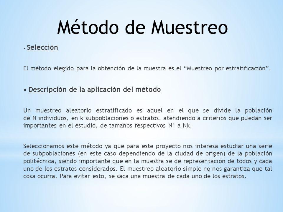 Método de Muestreo • Selección. El método elegido para la obtención de la muestra es el Muestreo por estratificación .