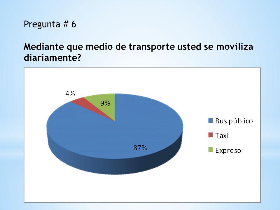 Pregunta # 6 Mediante que medio de transporte usted se moviliza diariamente