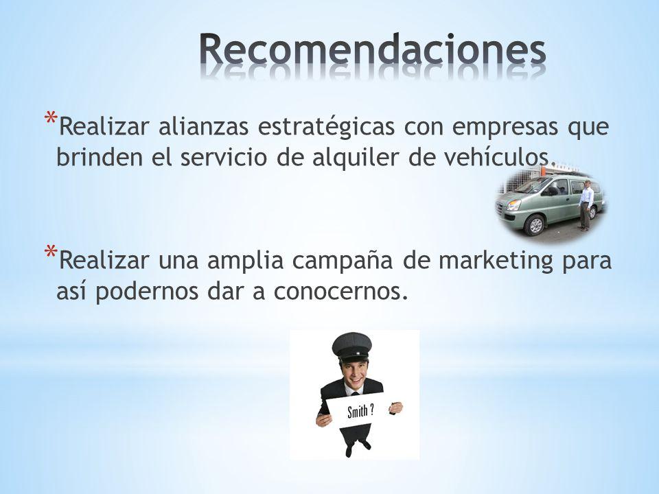 Recomendaciones Realizar alianzas estratégicas con empresas que brinden el servicio de alquiler de vehículos.