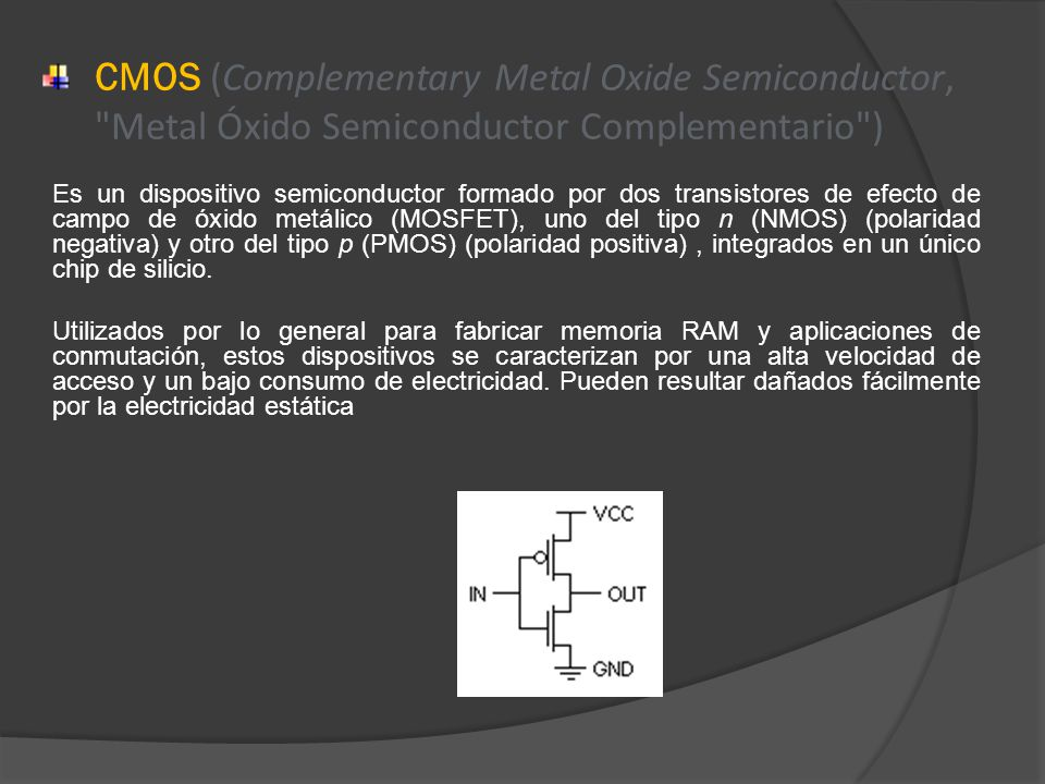 CMOS (Complementary Metal Oxide Semiconductor, Metal Óxido Semiconductor Complementario )