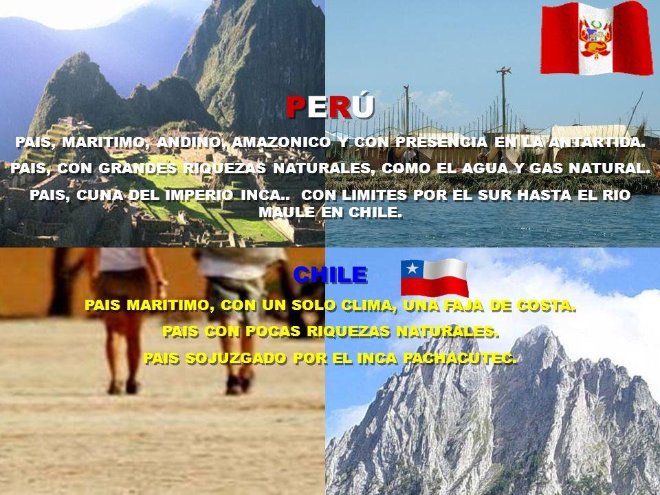 PERÚPAIS, MARITIMO, ANDINO, AMAZONICO Y CON PRESENCIA EN LA ANTARTIDA. PAIS, CON GRANDES RIQUEZAS NATURALES, COMO EL AGUA Y GAS NATURAL.