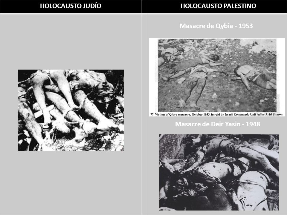 HOLOCAUSTO JUDÍO HOLOCAUSTO PALESTINO Masacre de Qybia - 1953 Masacre de Deir Yasin - 1948