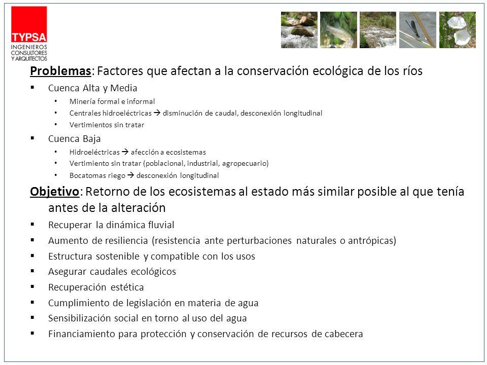 Problemas: Factores que afectan a la conservación ecológica de los ríos