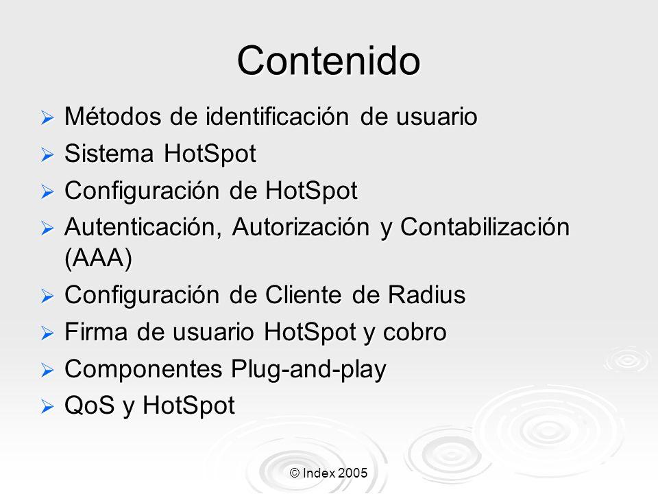 Contenido Métodos de identificación de usuario Sistema HotSpot