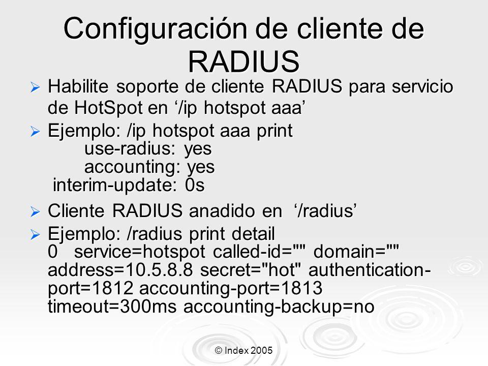 Configuración de cliente de RADIUS
