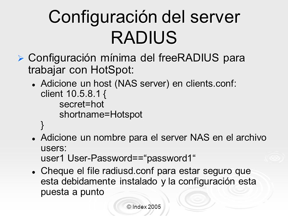 Configuración del server RADIUS