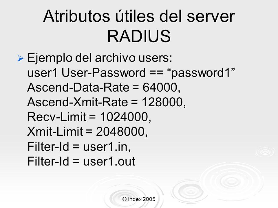 Atributos útiles del server RADIUS
