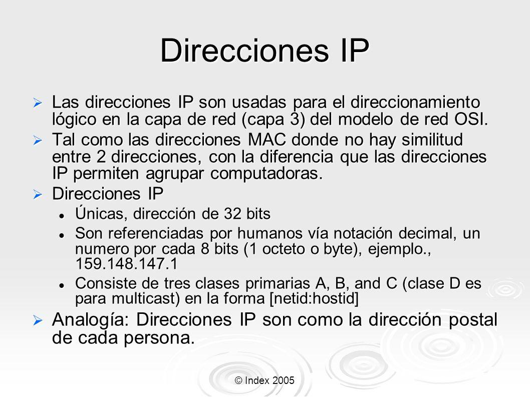 Direcciones IPLas direcciones IP son usadas para el direccionamiento lógico en la capa de red (capa 3) del modelo de red OSI.
