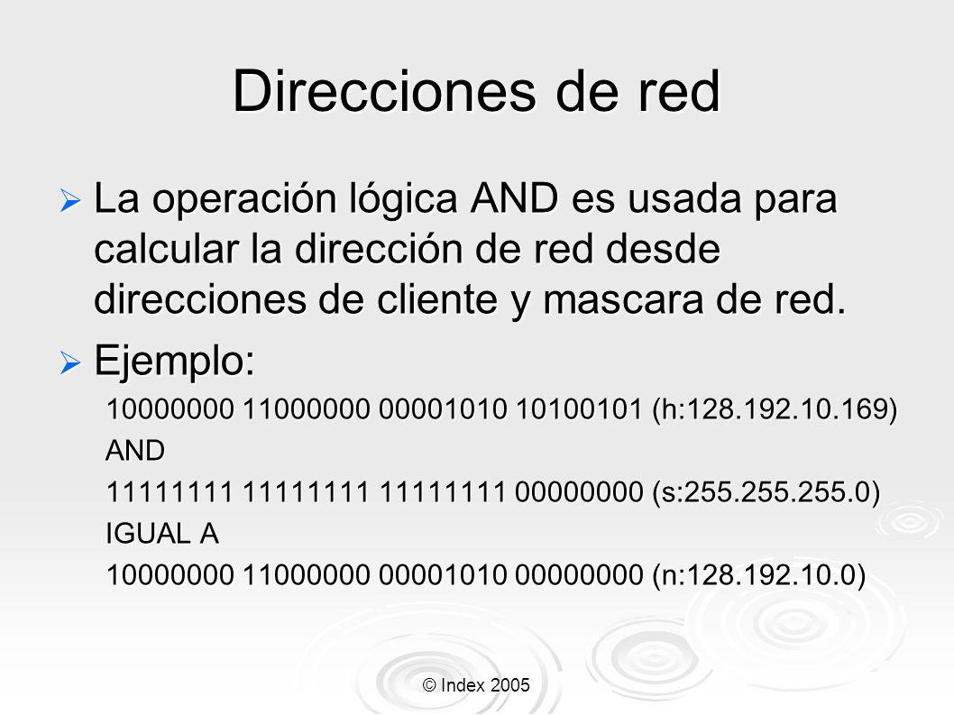 Direcciones de redLa operación lógica AND es usada para calcular la dirección de red desde direcciones de cliente y mascara de red.
