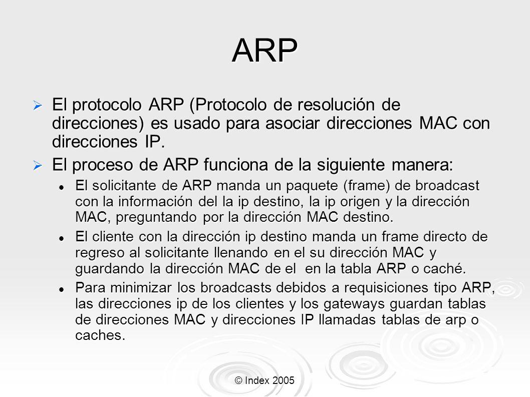 ARP El protocolo ARP (Protocolo de resolución de direcciones) es usado para asociar direcciones MAC con direcciones IP.