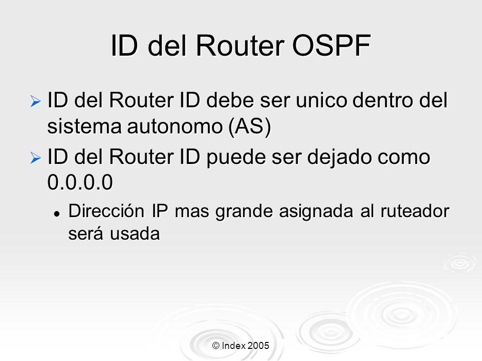 ID del Router OSPF ID del Router ID debe ser unico dentro del sistema autonomo (AS) ID del Router ID puede ser dejado como 0.0.0.0.