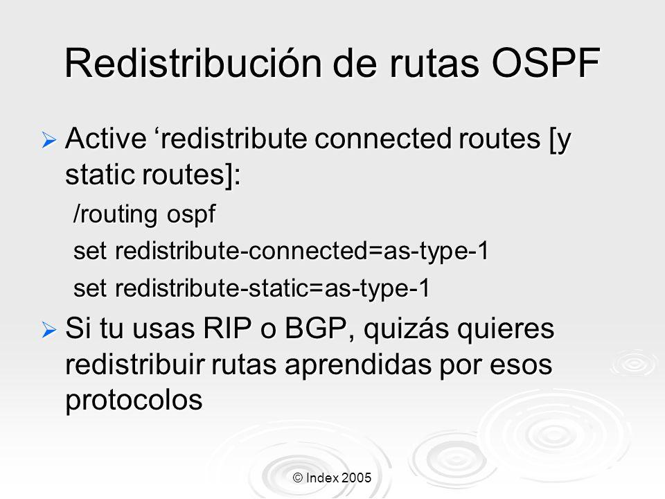 Redistribución de rutas OSPF