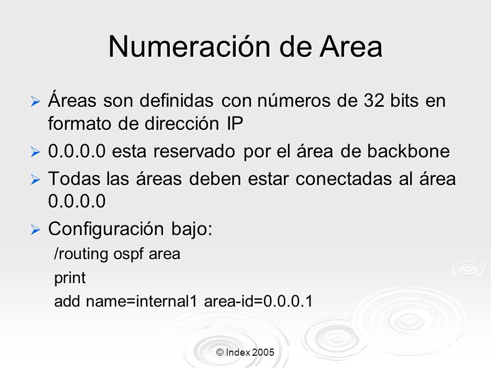 Numeración de Area Áreas son definidas con números de 32 bits en formato de dirección IP. 0.0.0.0 esta reservado por el área de backbone.
