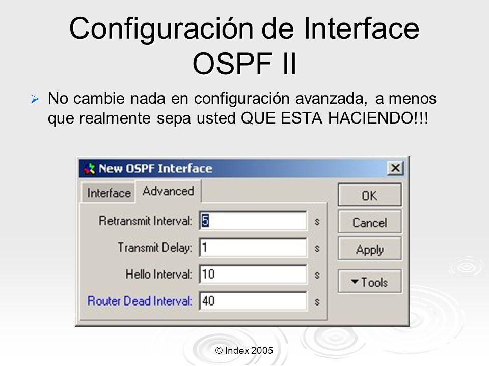 Configuración de Interface OSPF II