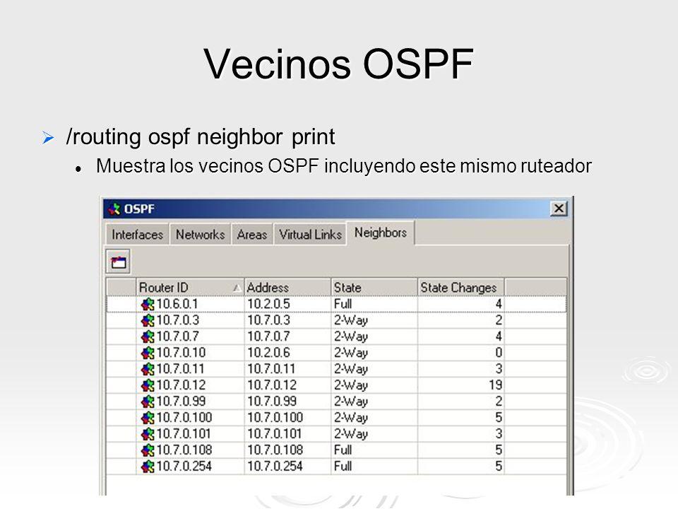 Vecinos OSPF /routing ospf neighbor print