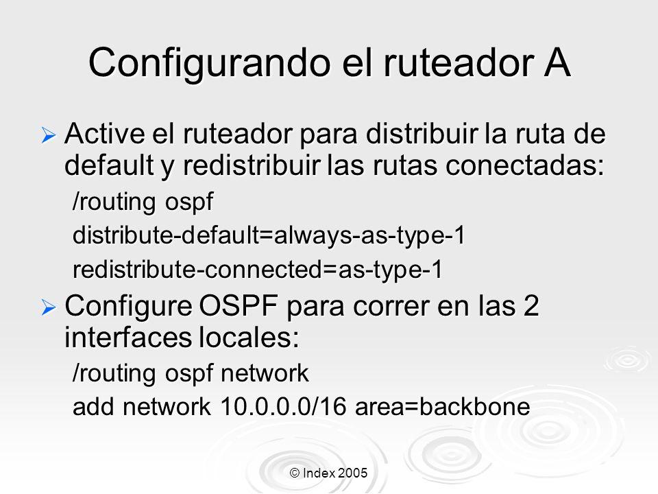 Configurando el ruteador A
