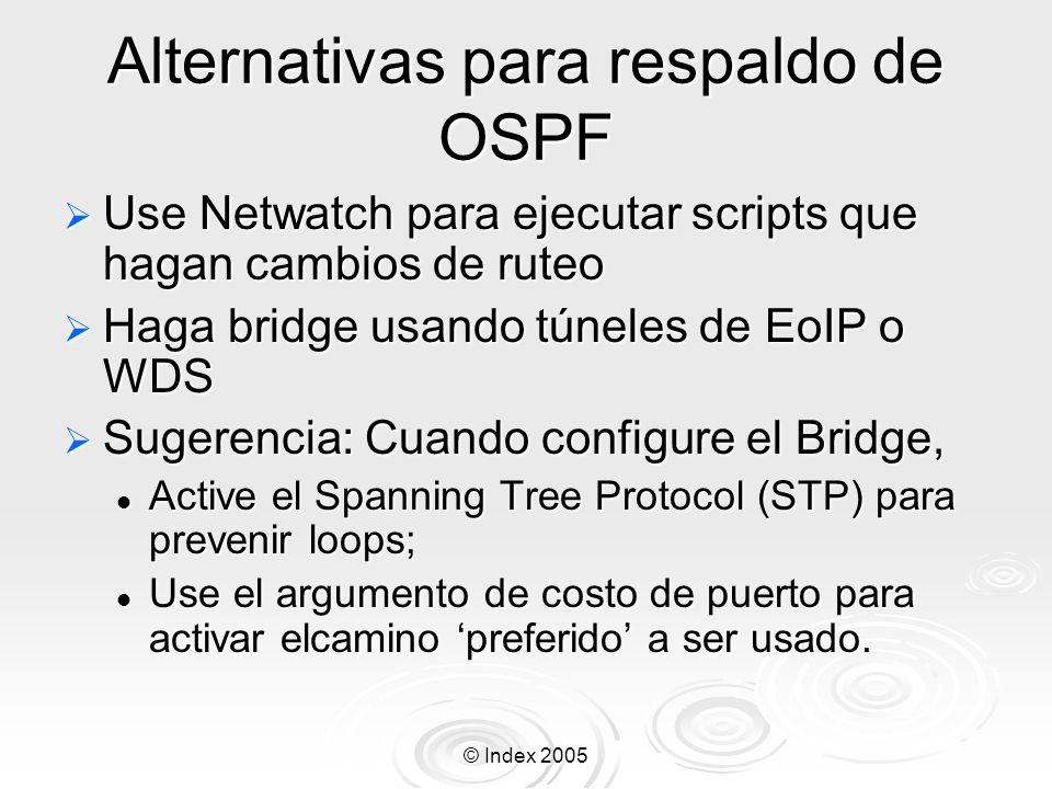 Alternativas para respaldo de OSPF