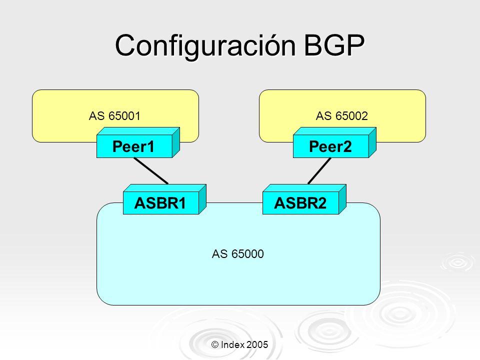 Configuración BGP Peer1 Peer2 ASBR1 ASBR2 AS 65001 AS 65002 AS 65000