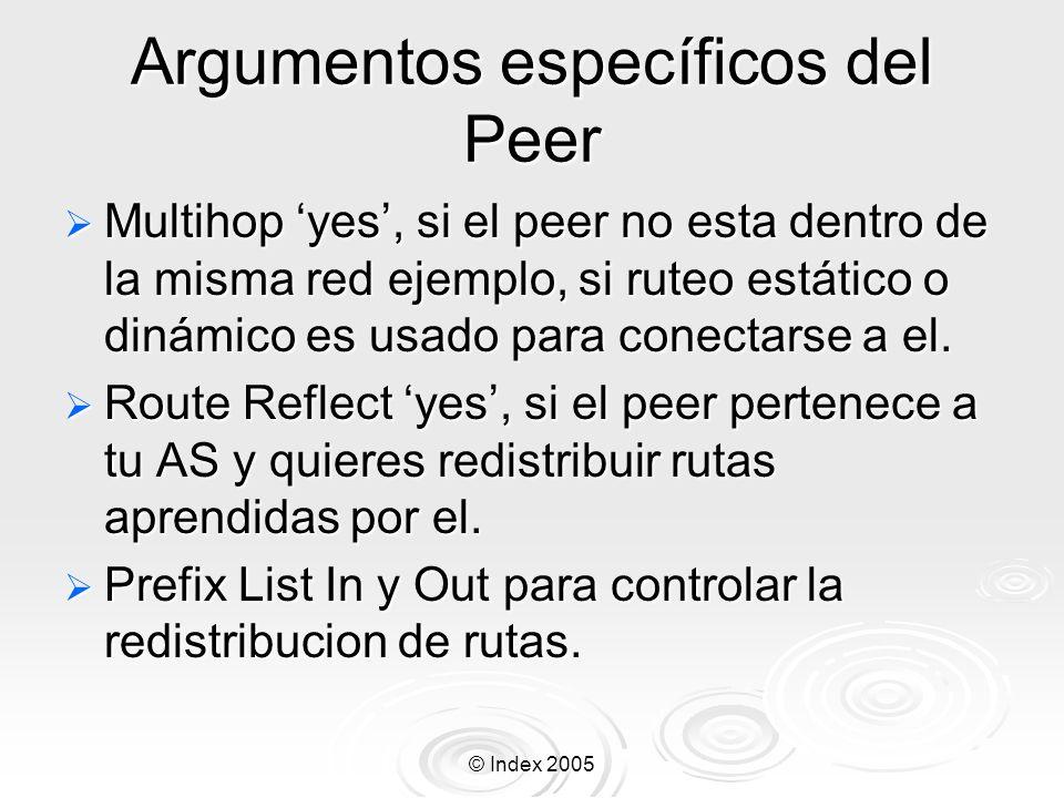 Argumentos específicos del Peer