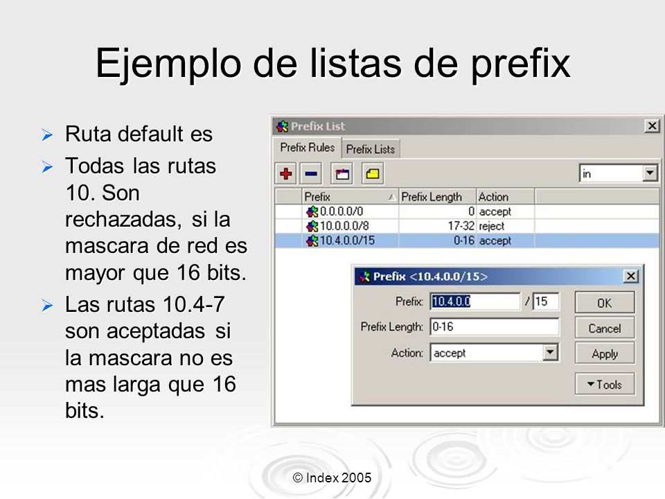 Ejemplo de listas de prefix
