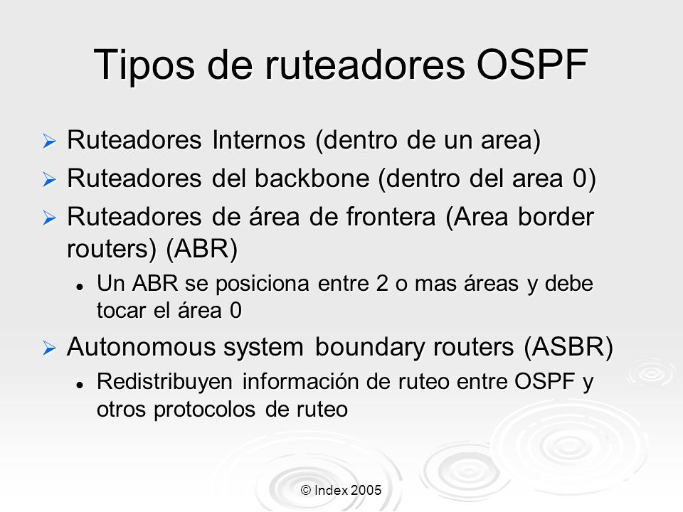 Tipos de ruteadores OSPF