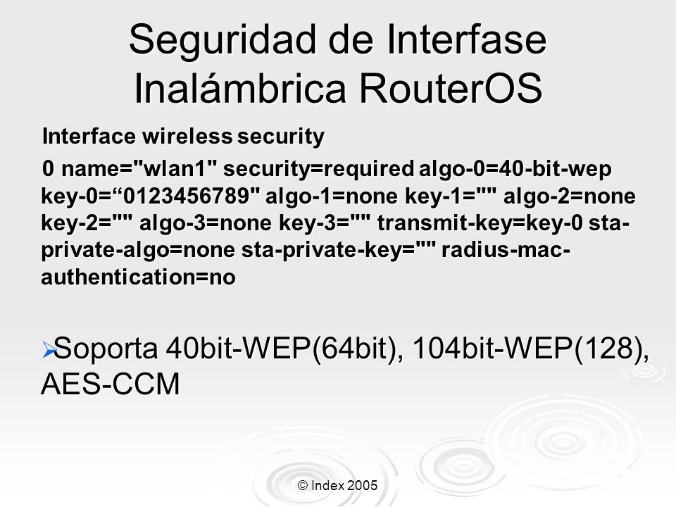Seguridad de Interfase Inalámbrica RouterOS