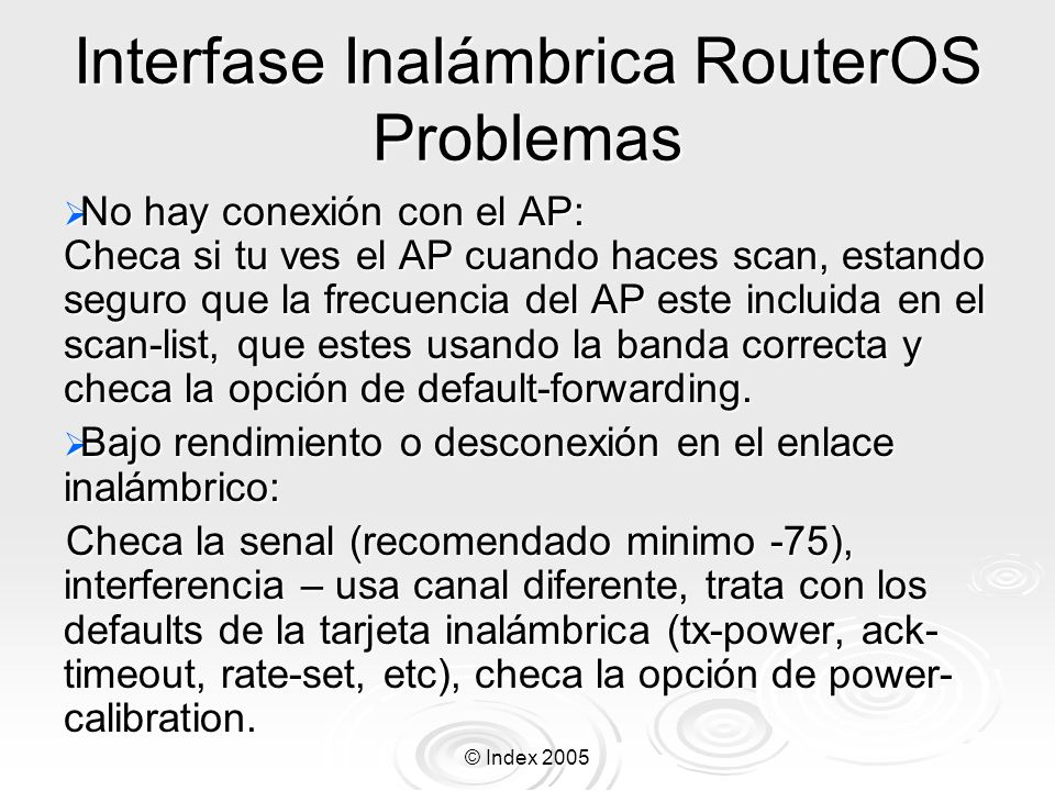 Interfase Inalámbrica RouterOS Problemas