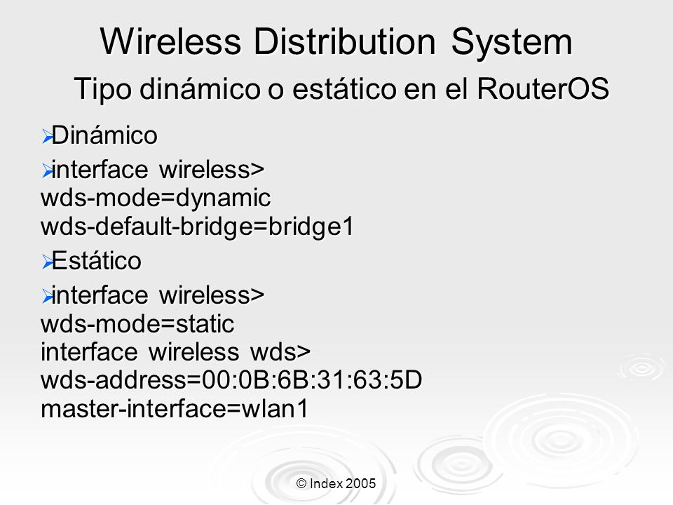 Wireless Distribution System Tipo dinámico o estático en el RouterOS
