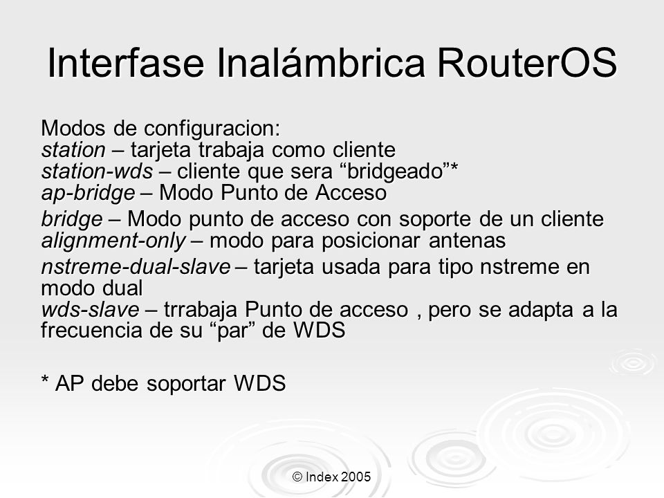 Interfase Inalámbrica RouterOS