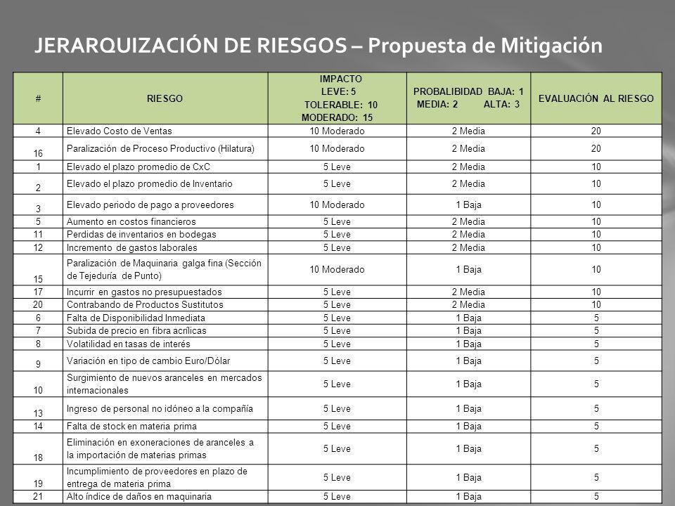 JERARQUIZACIÓN DE RIESGOS – Propuesta de Mitigación