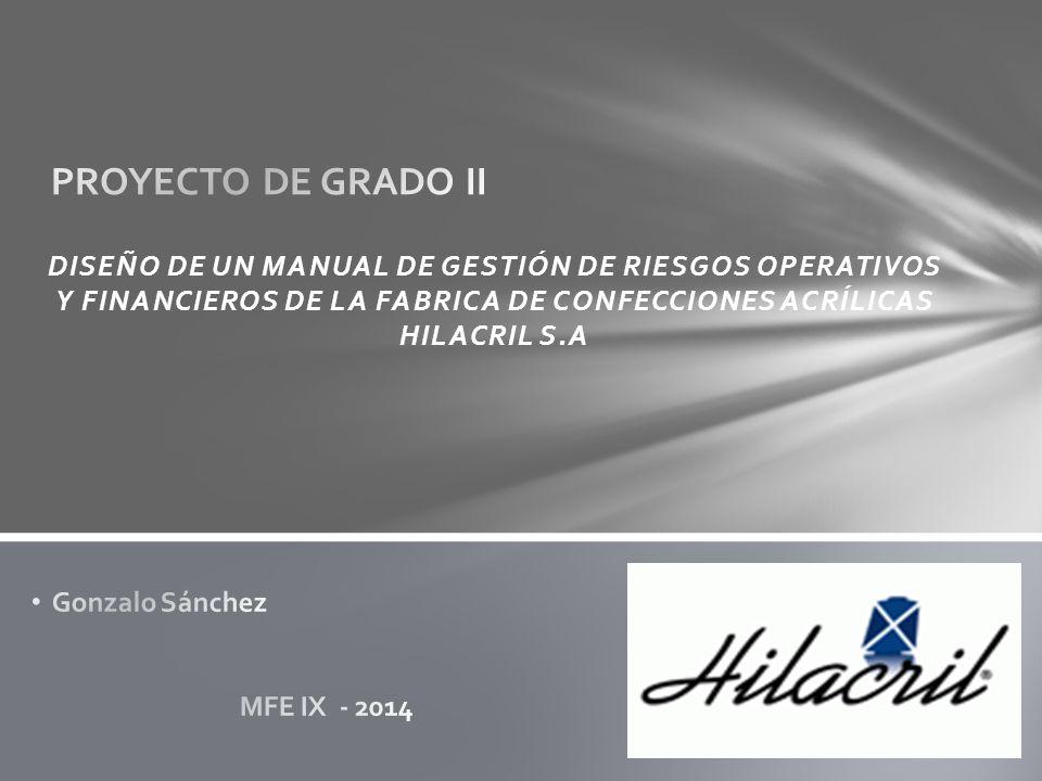 PROYECTO DE GRADO II DISEÑO DE UN MANUAL DE GESTIÓN DE RIESGOS OPERATIVOS Y FINANCIEROS DE LA FABRICA DE CONFECCIONES ACRÍLICAS HILACRIL S.A.