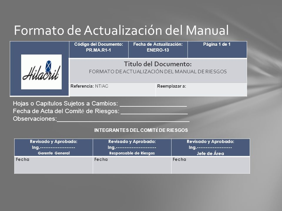 Formato de Actualización del Manual