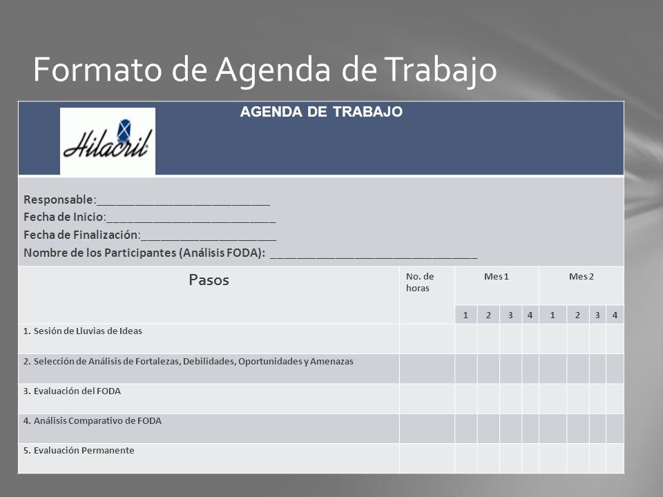 Formato de Agenda de Trabajo