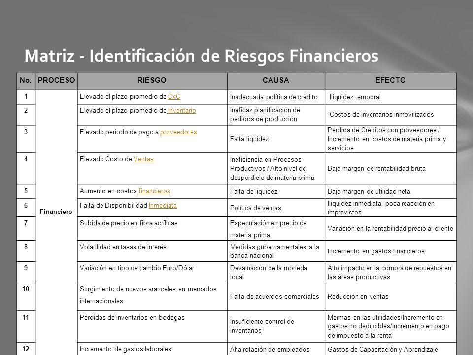 Matriz - Identificación de Riesgos Financieros