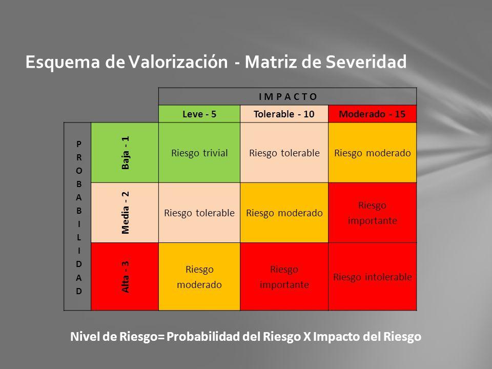 Esquema de Valorización - Matriz de Severidad
