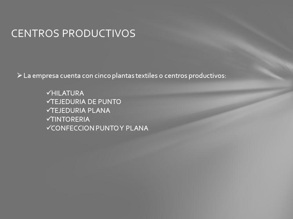 CENTROS PRODUCTIVOS La empresa cuenta con cinco plantas textiles o centros productivos: HILATURA. TEJEDURIA DE PUNTO.